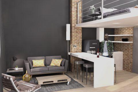 architecte d intrieur nord de luespace duun appartement par un architecte duintrieur dans. Black Bedroom Furniture Sets. Home Design Ideas
