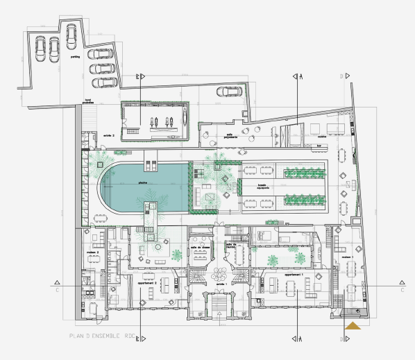 prestation architecture interieur plan coupe delfour charlotte. Black Bedroom Furniture Sets. Home Design Ideas