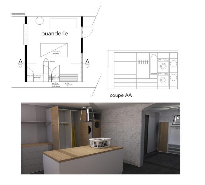 plans 3D projet maison detail de la buanderie