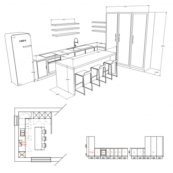 plans 3D projet maison detail de la cuisine