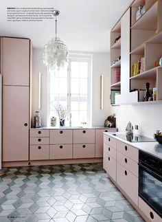 cuisine ,le rose dans nos intérieurs ,sur les murs, en décorations, en objets