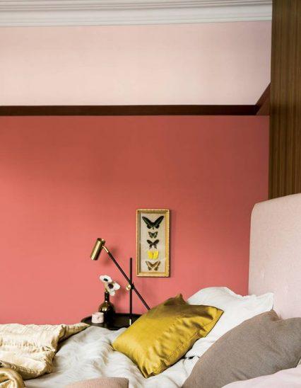 mur peint, le rose dans nos intérieurs ,sur les murs, en décorations, en objets