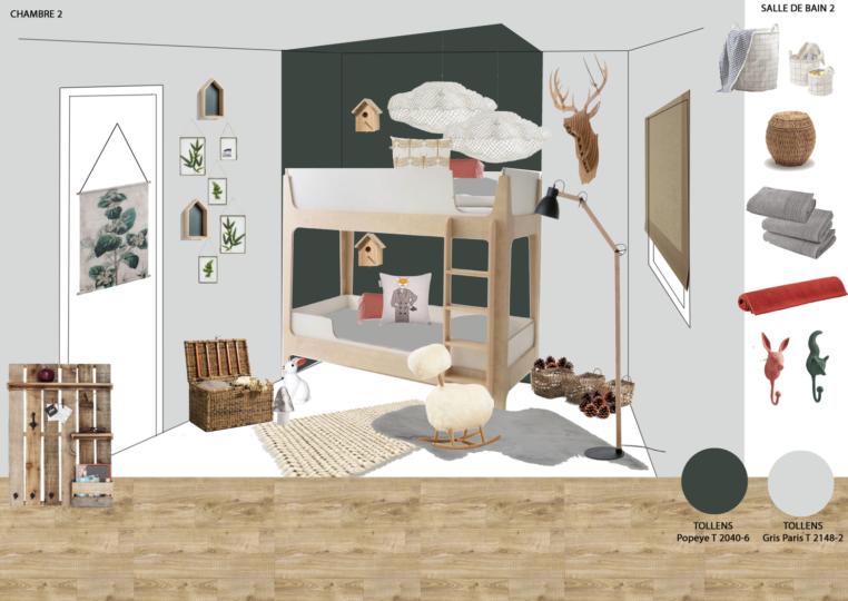 shopping liste chambre enfant foret cabinet de curiosité bois vert matière naturel LA REDOUTE