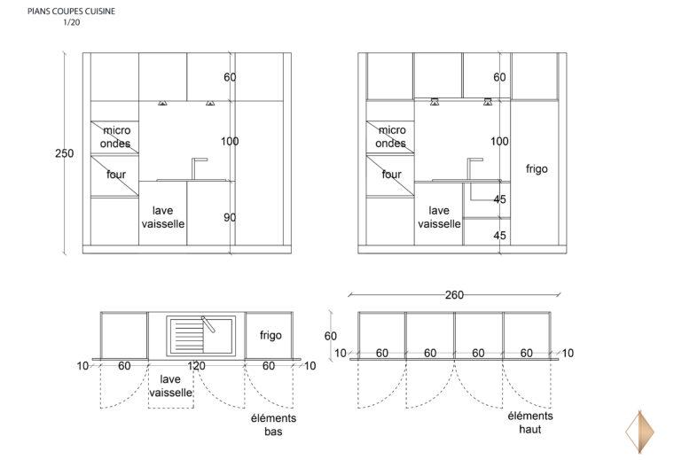 plans coupes cuisine facades