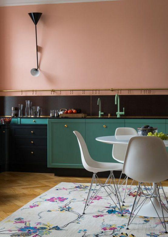 cuisine, mur peint, le rose dans nos intérieurs ,sur les murs, en décorations, en objets