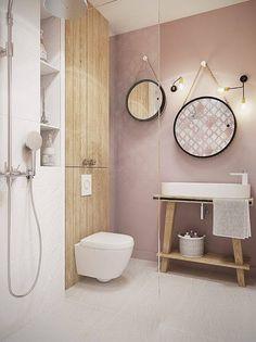 salle de bain, peinture ,le rose dans nos intérieurs ,sur les murs, en décorations, en objets