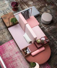 design objet, tapis, fauteuil ,le rose dans nos intérieurs ,sur les murs, en décorations, en objets