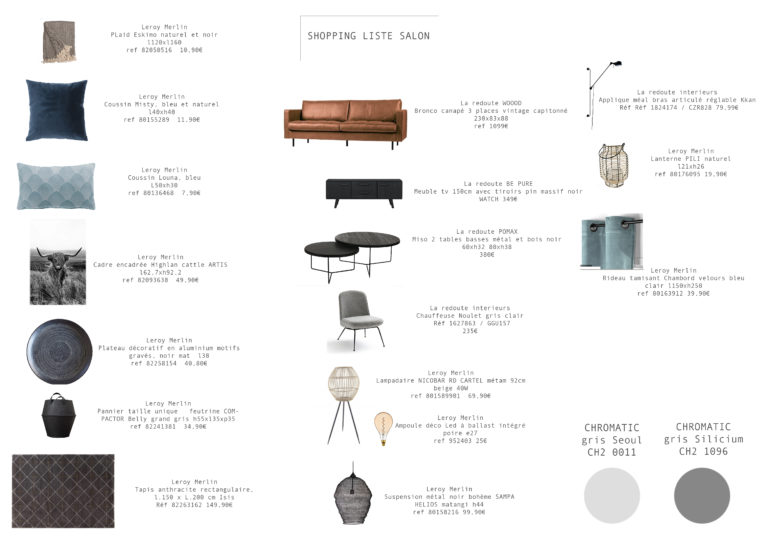 shopping liste salon